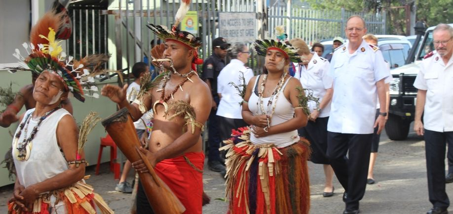 General & Commissioner welcomed by traditional dancers from Central Province